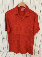 CABALI Hawaiian Aloha Red Floral Short Sleeve Rayon Shirt Size Medium A1