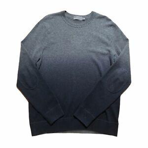 Vince. Men's L Wool Cashmere Sweater Gray Black Ombre Elbow Patch Crew Neck