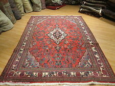 7x10 Estate Persian Sarouk Vegetable Dye Handmade Knotted Wool Rug 582014