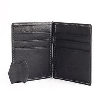 bifold portafoglio da uomo in pelle marrone credito / porta carte