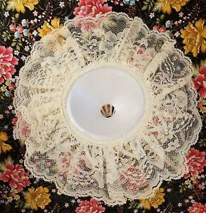 "Lot of 6 Vintage Darice Wedding Bridal Flower Bouquet 9-1/2"" Cream Lace Collar"