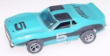 AURORA AFX HO SLOT CAR JAVELIN TRANS AM BLUE BLACK SILVER #5 SINGAPORE CHASSIS