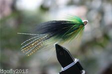 24 Pcs Green&Yellow Fearther Cone Head Tube Flies Salmon Trout Fly Fishing Flies