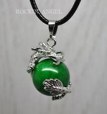 Jade Dragon Ball Pendant Necklace Reiki Healing Gemstone Chakra Ladies Mens Gift