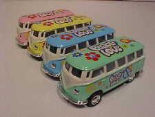 4 Pack 1962 VW Bus Volkswagen Van Diecast 1:64 Kinsmart 2.5 inch Flowers Love