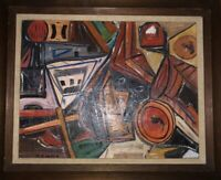 Finest Mid Century Modern Abstract Oil Painting Signed By W.E. Weir Dated 1961