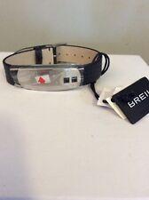 $125 Breil Leather Unisex Jewels Board  Bracelet With Swarovski Elements # KK1
