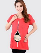 Baby Peek-A-Boo Funny Maternity Tops T-Shirt Tunics For Women Pregnancy Mum