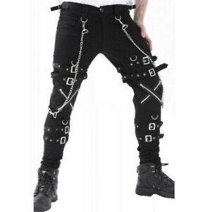 Gothic BONDAGE ROCK Black Punk Buckle Zips Chain Strap Trousers EMO/TRIPP PANTS