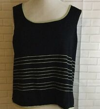 TAHARI Arthur S. Levine Black & Green Knit Sleeveless Sweater Top Women's Sz 12