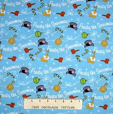 Christmas Fabric - Silly Frosty Snowman Toss Aqua - Quilting Treasures YARD