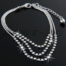 Chain Anklet Bracelet Foot Jewelry Crystal 3 Rows Rhinestone Anklet