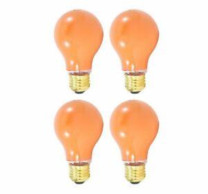 Sterl Lighting Pack of 4 A19 Ceramic Orange Incandescent Light Bulb 40W/120V E26