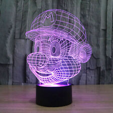 Super Mario Head 3D Night Light 7 Color Changable LED Desk Table Light Lamp Gift