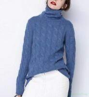 Women Cashmere Casual Thick High-Neck Sweater Long Sleeve Autumn Loose Coat Tops