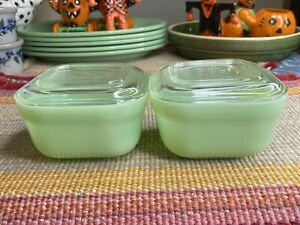 2 Fire King Jadeite Small Colonial Band Refrigerator Dishes Boxes Jars