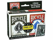 BICYCLE 4 PACK BLACK & RED DECKS OF PLAYING CARDS POKER SIZE GAMES MAGIC TRICKS