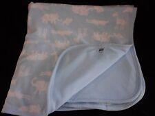 Carter's Blue Fleece Baby Blanket White Jungle Animal Print Cotton Reversible