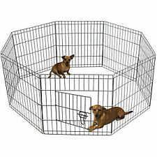 "OxGord Fence Pet Dog Folding Exercise 42"" Tall Wire  Yard 8 Panel Metal Play-Pen"