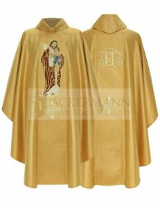 Gold Gothic Chasuble Saint Joseph with matching stole 472-G63g us