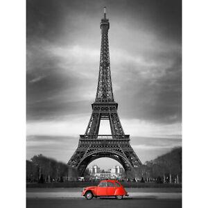 Eiffel Tower In Paris Red Car Large Wall Art Print Canvas Premium Poster