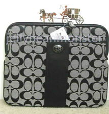 COACH 62107 Sutton Signature Leather Universal Sleeve Tablet Bag Black White New