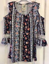 Lily Bleu Girl's Top Blue Size M Cold-Shoulder Floral Print Crochet Sleeves