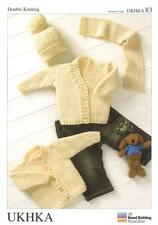 Double Knitting Pattern Cardigans Hat Scarf Wool Premature To 2 Years 36-56 cm