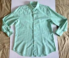 J. Lindeberg Light Lime Green White Modern Classic Button Shirt Mens Sz 43/17