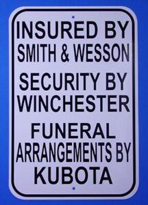Warning sign Kubota Smith & wesson Winchester sign Kubota Tractor Parts