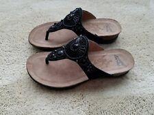 Dansko Pamela Black Jeweled Thong Suede Sandals - Black - Size 36 EU