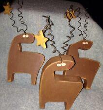 Christmas Decor Folk Art 3 Wooden Reindeer