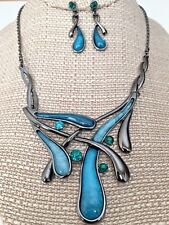 Teal Blue Hematite Tone Statement Necklace Earrings Fashion Jewelry Set