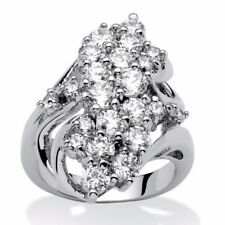 Women 10KT White Gold Filled Ring White Sapphire Birthstone Engagement Jewelry