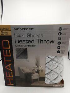 Biddeford Ultra Sherpa Heated Throw Gray Diamond 62in x 50in