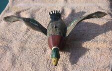 Unusual MALLARD in Flight Carved Painted Wood Duck Decoy