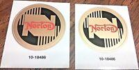 "Norton 2-1/4"" round gold/black/red gas tank/fender die cut vinyl transfers, pair"