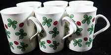 Ladybugs Four Leaf Clovers Coffee Mugs Set of 6 Tea Cups 12 oz Lady Bug
