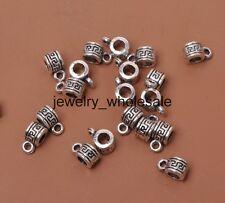 30pcs Tibetan Silver Charm Connector Spacer Bail Beads Fit Bracelet 10mm D3034