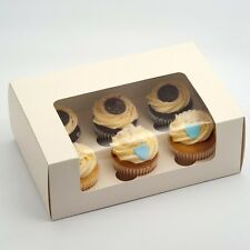 LUXURY ANTIQUE WHITE CUPCAKE BOXES 6 CUP INSERTS IDEAL WEDDING FAVOURS OR GIFTS
