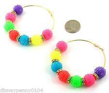 "Basketball Wives Inspired Hoop Earrings NEON Colored Fireballs-3"""