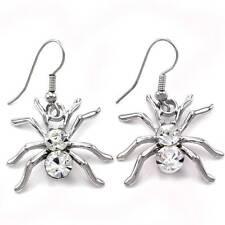 Spider Tarantula Earrings Dangle Style Silver Tone Clear Rhinestone Gift for Mom
