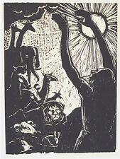 STEINHARDT JACOB, Noah Blesses the Animals, Original S&N WOODCUT Jewish Art 1962