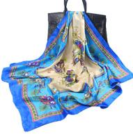 Foulard Chic Femme Grand Carré Bleu Chevaux Effet Satin  - Bijoux des Lys