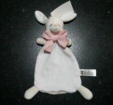 Doudou lapin pois rose noeud dormeur velours beige tissu blanc H&M et NEUF