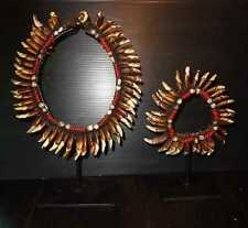 STUNNING PAIR P.N.G. DOG TEETH NECKLACE & BRACELET ON STANDS.