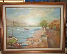 Vintage Framed Oil Painting on Canvas, Seaside with Children Playing - B Lyde