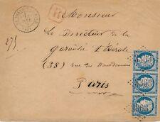 Lettre n°60 Bande de Trois Recommandé La Selle-S-Le-Bied Loiret Cover