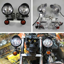 2X Black Motorcycle Passing Driving Spot Fog Lamp Turn Signal Light For Harley