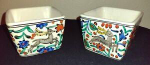 2 Vintage Handmade IKaros Pottery Multicolor Dish Pot Rhodes, Greece